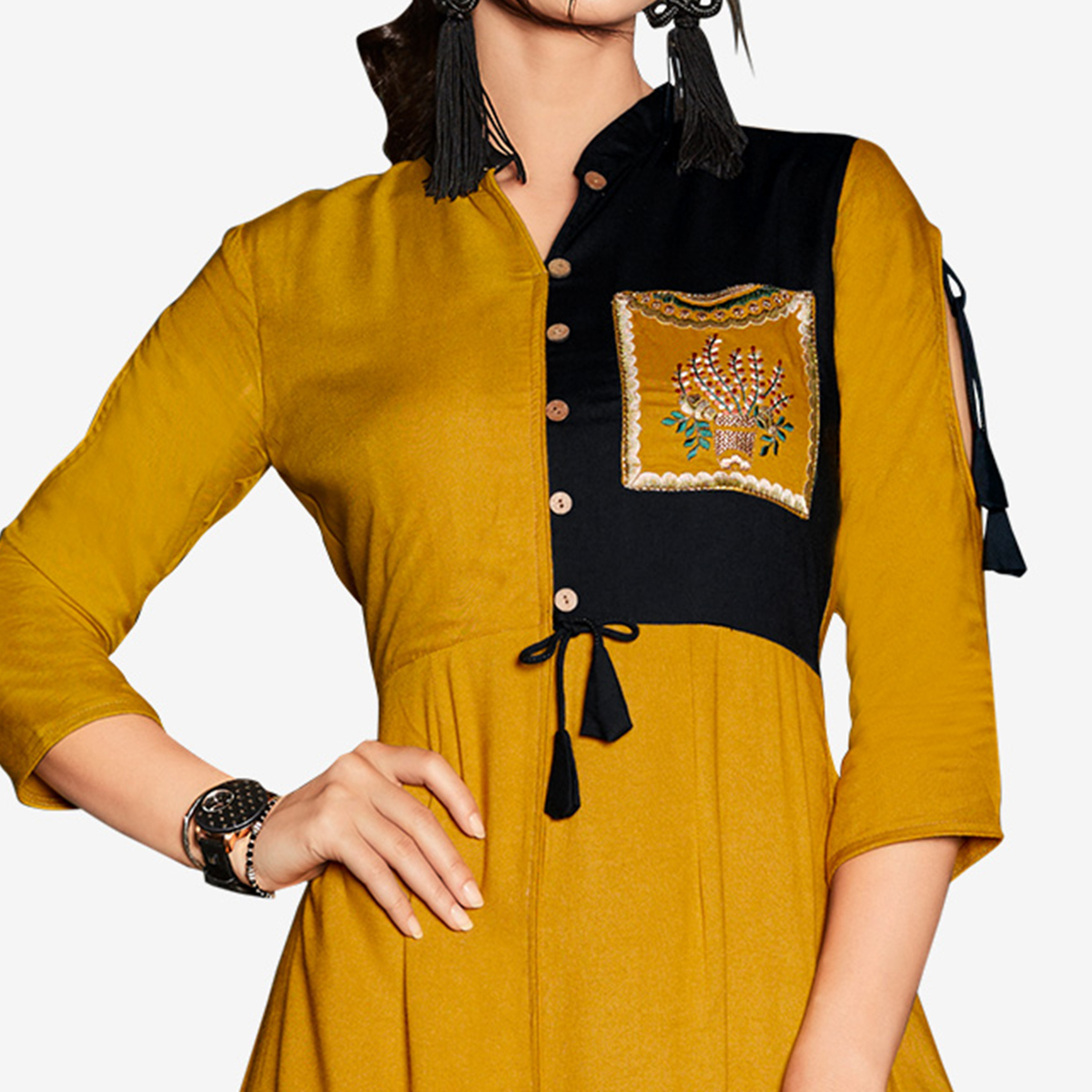 Unique Yellow Colored Party Wear Embroidered Rayon Kurti