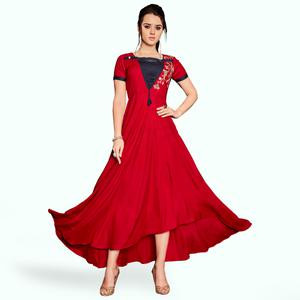 Demanding Red Colored Party Wear Embroidered Rayon Kurti
