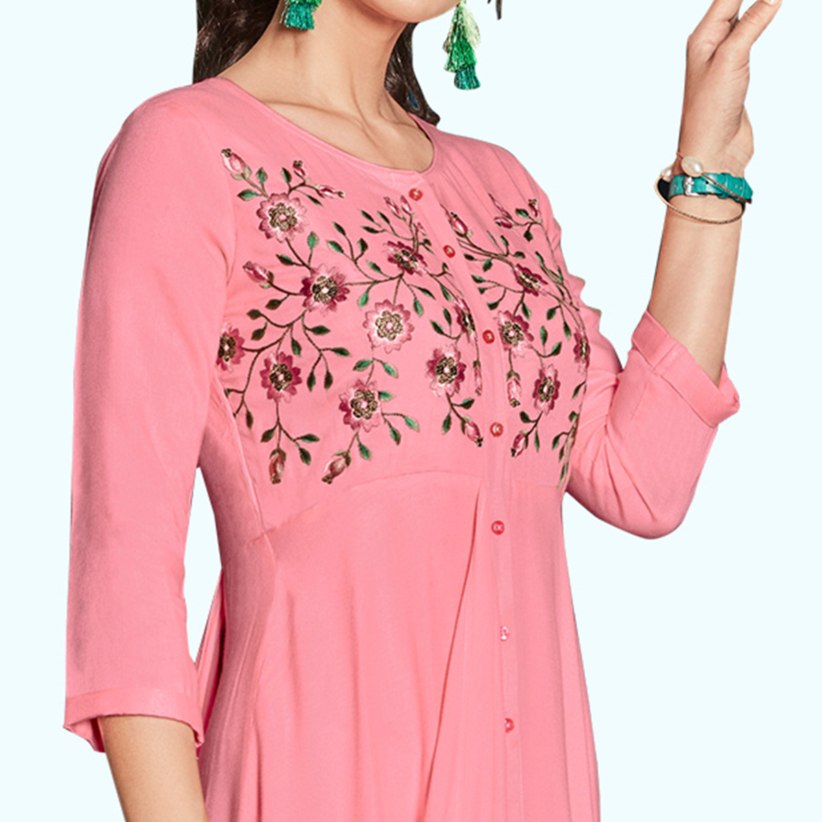Refreshing Pink Colored Party Wear Embroidered Rayon Kurti