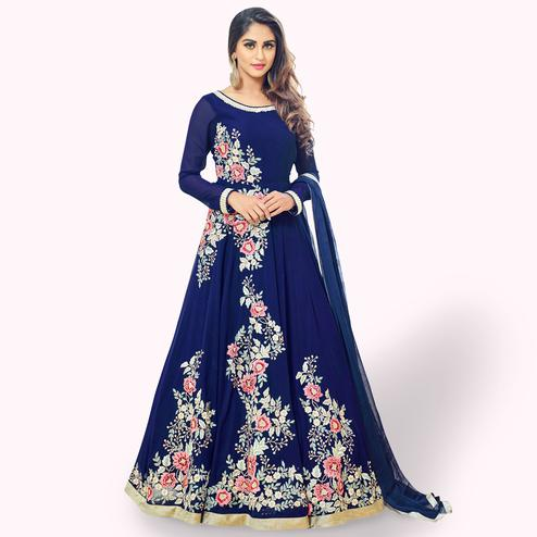 Imposing Blue Colored Partywear Embroidered Georgette Anarkali Suit