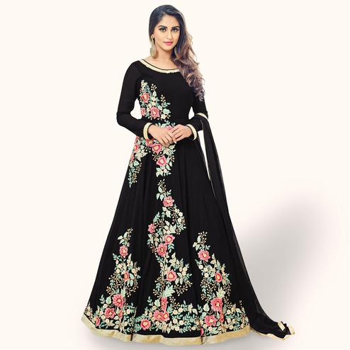 Lovely Black Colored Partywear Embroidered Georgette Anarkali Suit