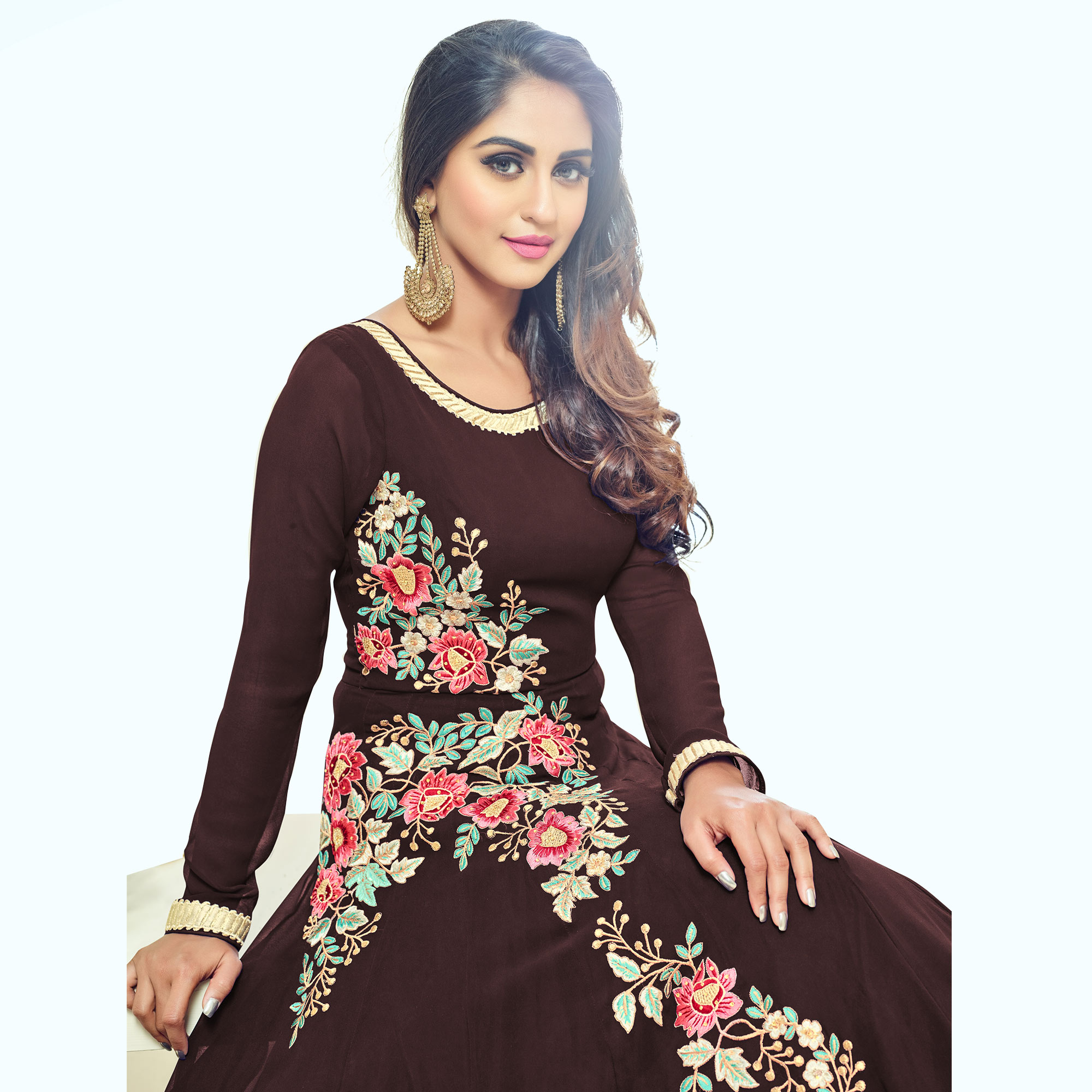 Majesty Brown Colored Partywear Embroidered Georgette Anarkali Suit
