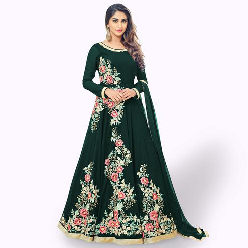 Excellent Green Colored Partywear Embroidered Georgette Anarkali Suit