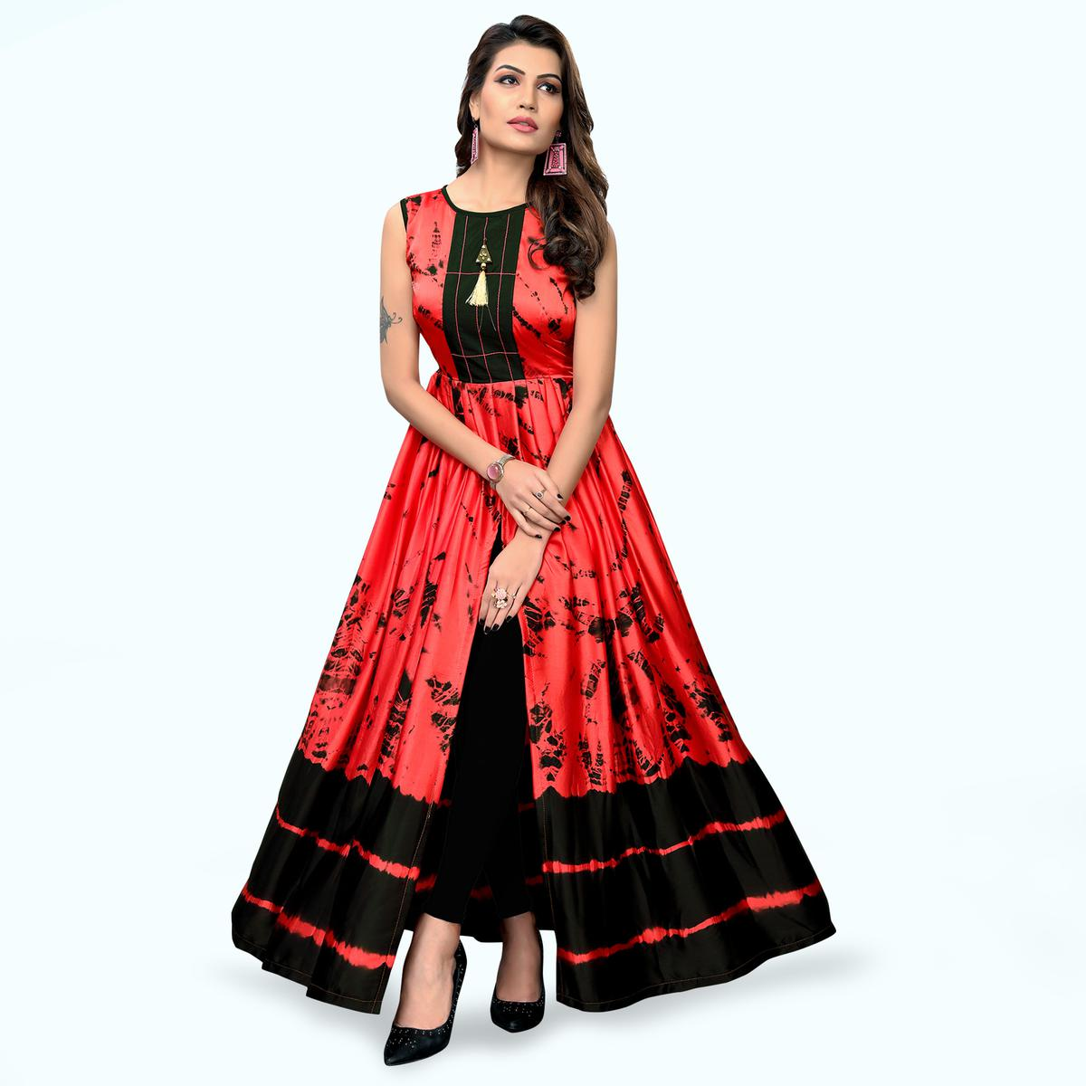 Classy Red Colored Partywear Shibori Printed Satin Long Kurti