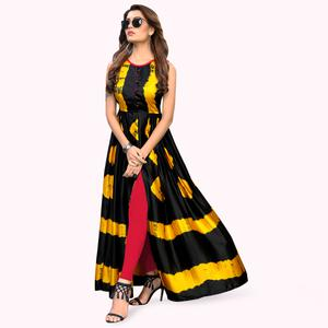 Attractive Black-Yellow Colored Partywear Shibori Printed Satin Long Kurti