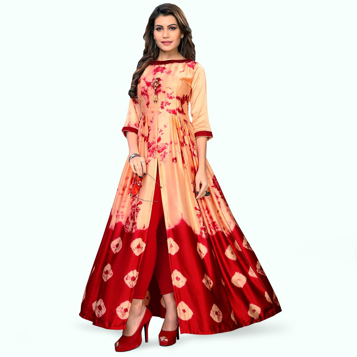 Desiring Peach-Red Colored Partywear Shibori Printed Satin Long Kurti