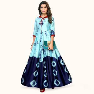 Refreshing Sky Blue Colored Partywear Shibori Printed Satin Long Kurti