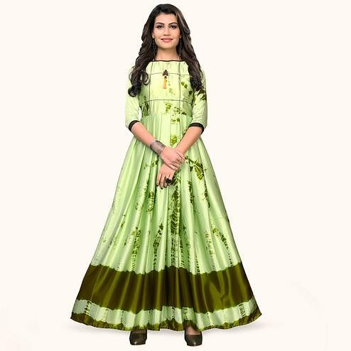 Surpassing Pista Green Colored Partywear Shibori Printed Satin Long Kurti