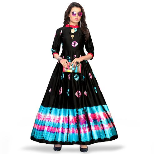 Fabulous Black Colored Partywear Shibori Printed Satin Long Kurti