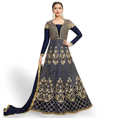 Impressive Navy Blue Colored Party Wear Embroidered Raw Silk-Net Anarkali Suit