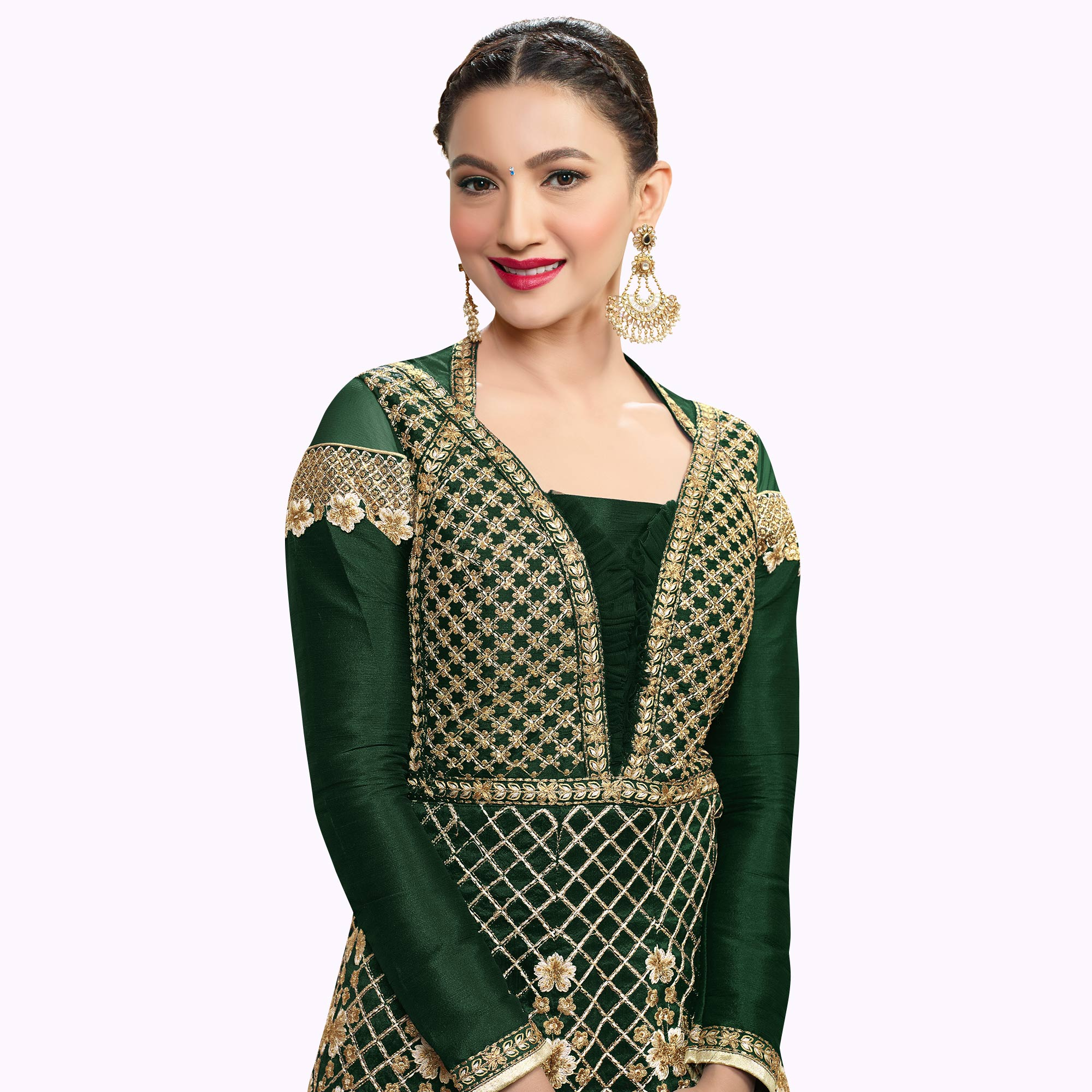Ethnic Green Colored Party Wear Embroidered Raw Silk-Net Anarkali Suit