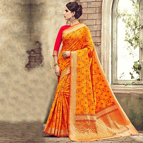 Yellow Designer Festive Wear Woven Pure Pochampalli Silk Saree