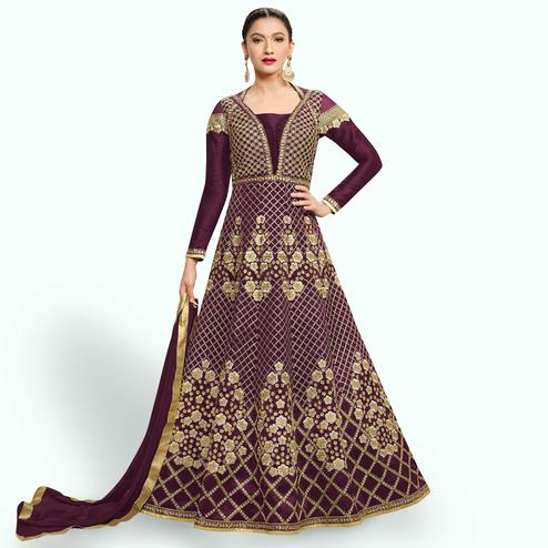 Alluring Purple Colored Party Wear Embroidered Raw Silk-Net Anarkali Suit