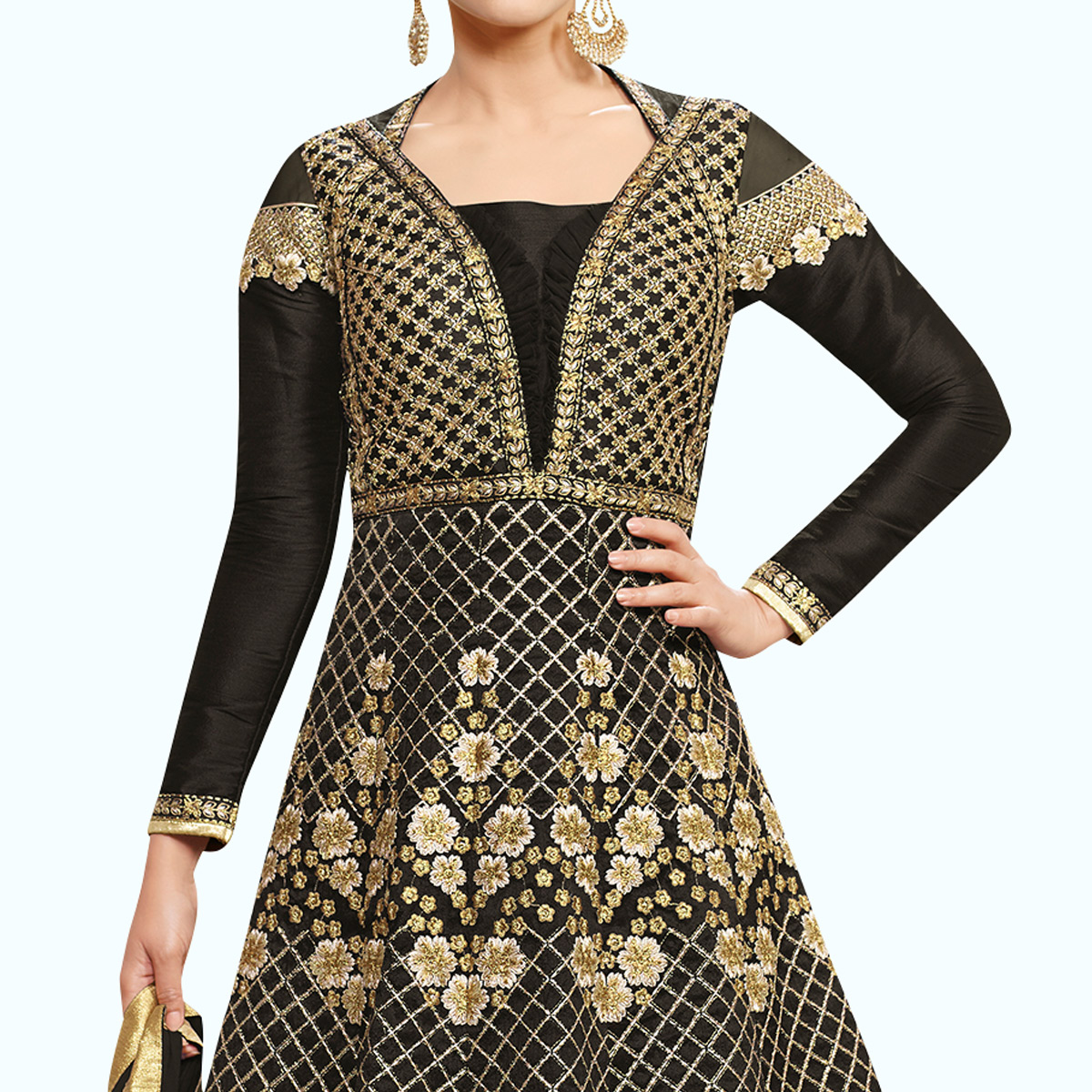 Sensational Black Colored Party Wear Embroidered Raw Silk-Net Anarkali Suit