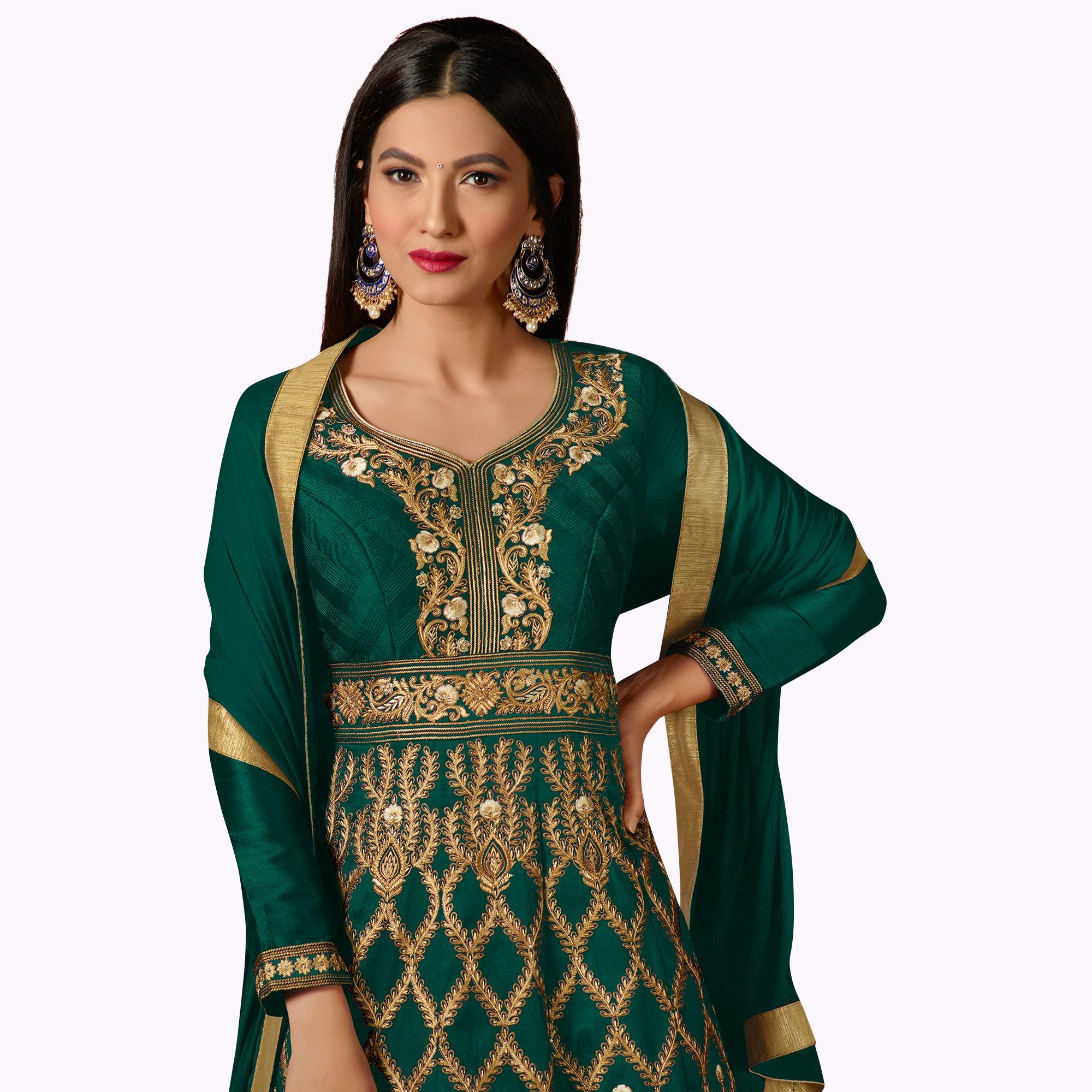 Dazzling Green Colored Party Wear Embroidered Mulberry Silk Anarkali Suit
