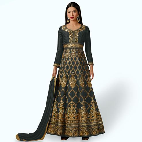 Prominent Grey Colored Party Wear Embroidered Mulberry Silk Anarkali Suit