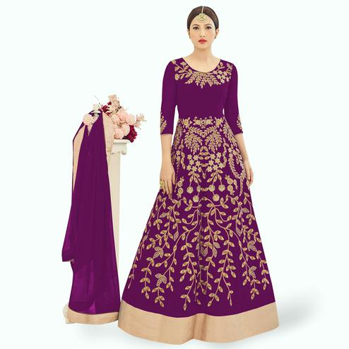 Ravishing Purple Colored Partywear Embroidered Georgette Anarkali Suit