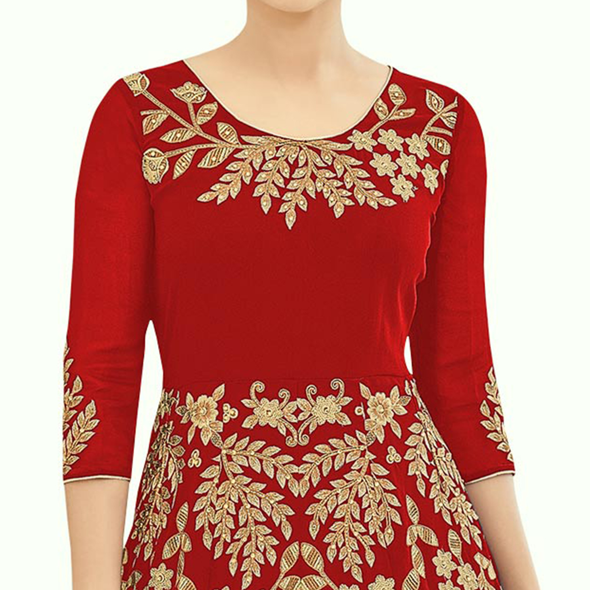 Staring Red Colored Partywear Embroidered Georgette Anarkali Suit