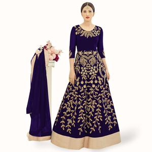 Arresting Navy Blue Colored Partywear Embroidered Georgette Anarkali Suit