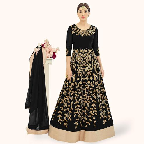 Opulent Black Colored Partywear Embroidered Georgette Anarkali Suit