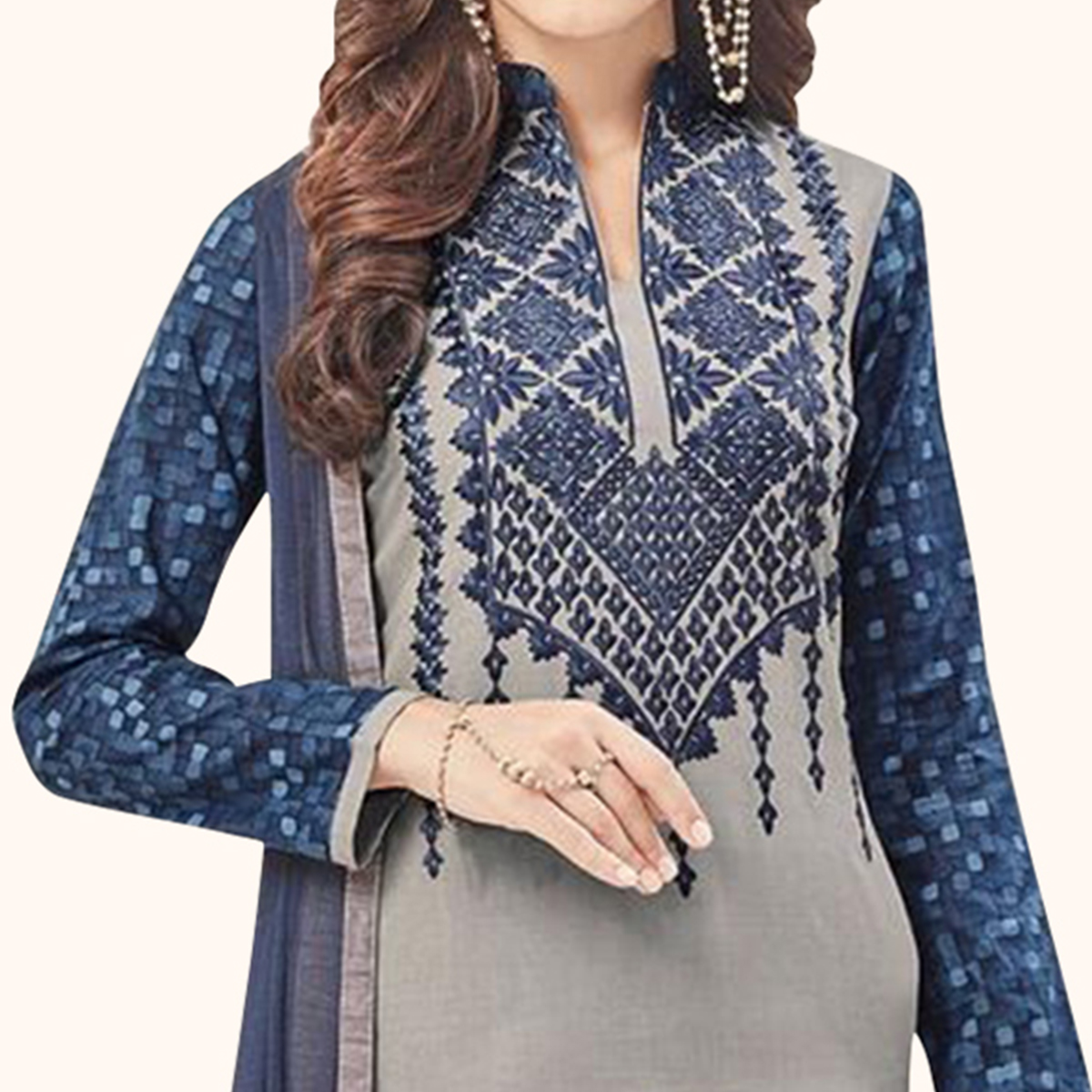 Eye-Catching Gray Colored Casual Embroidered Cotton Dress Material