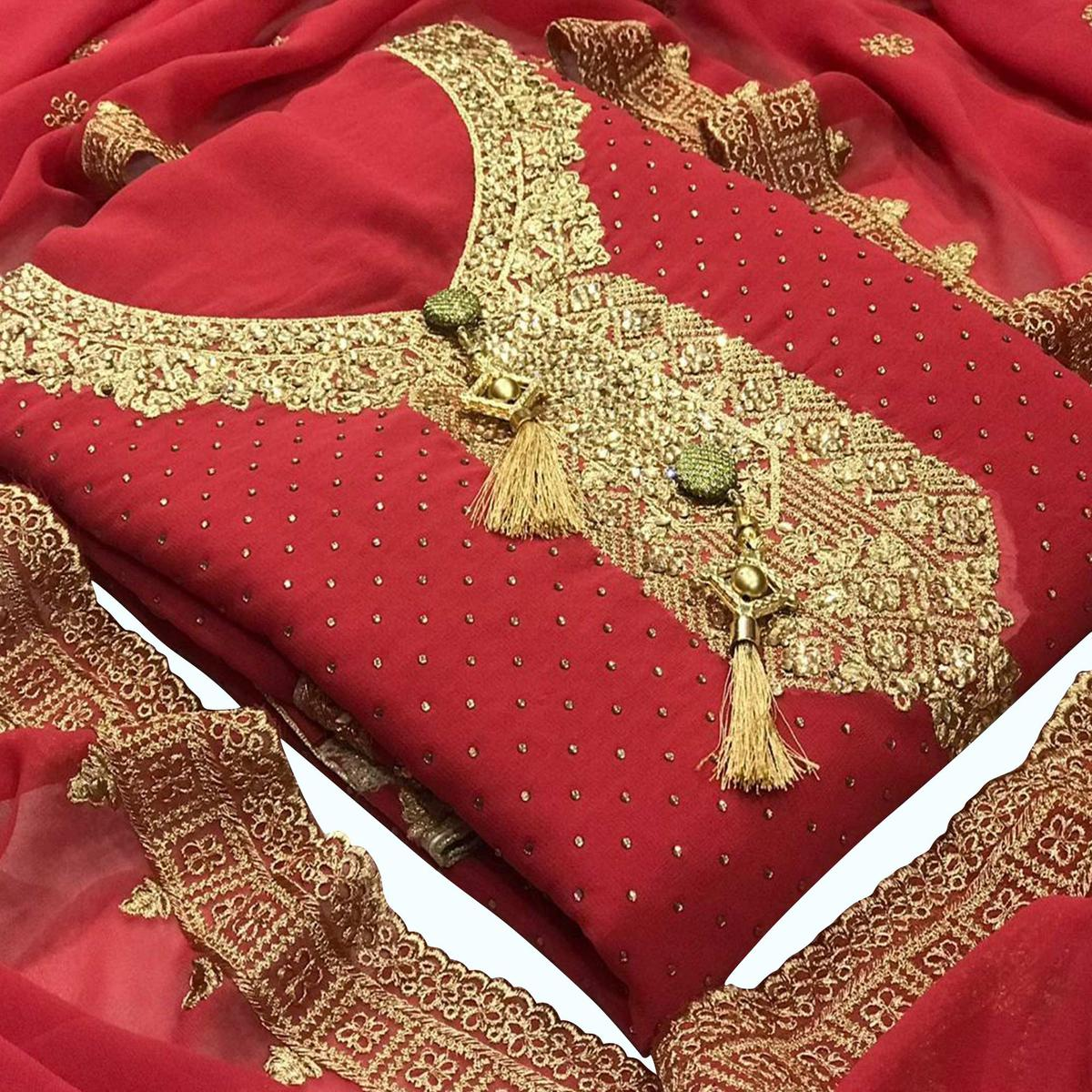 Demanding Red Colored Partywear Embroidered Georgette Suit