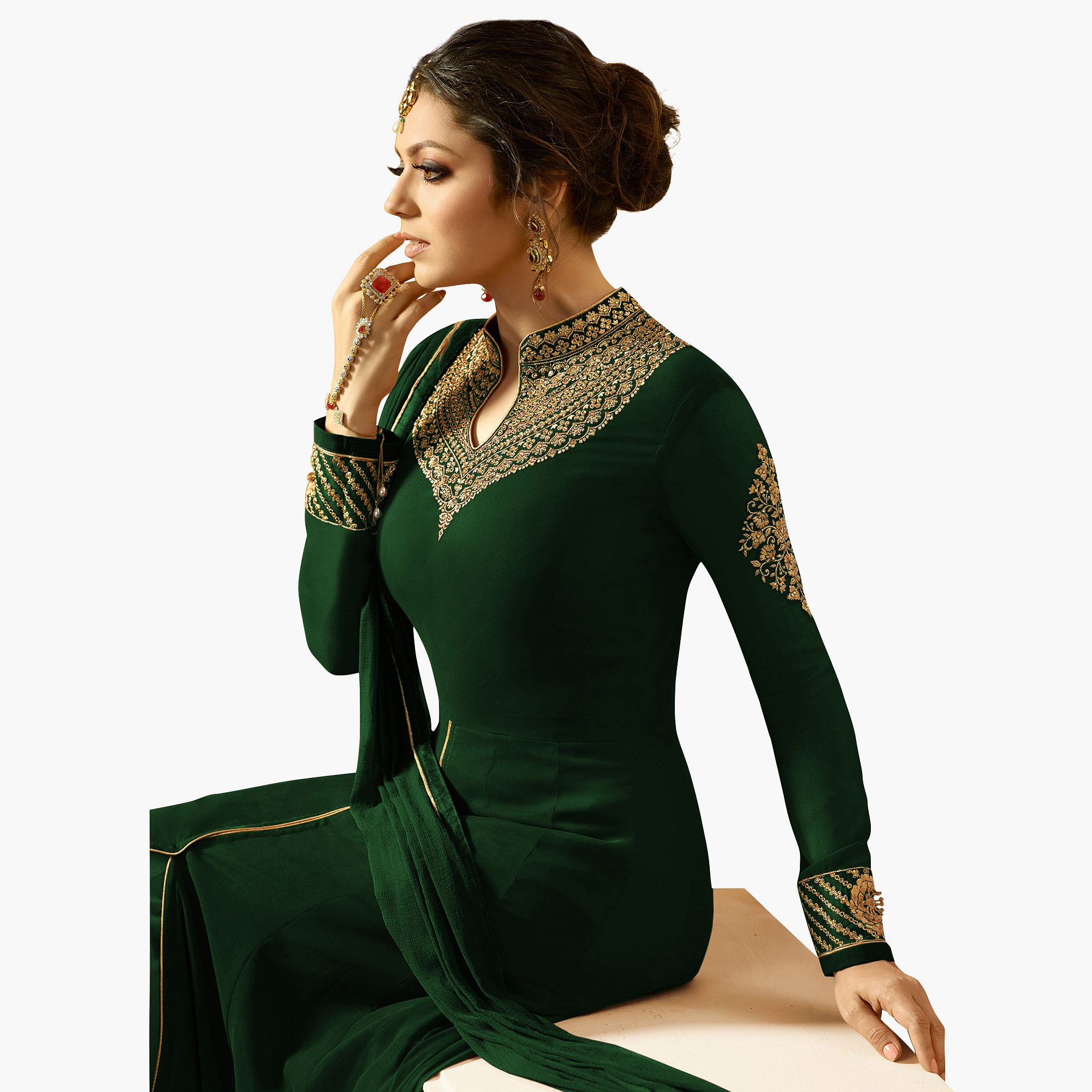 Fantastic Green Colored Partywear Embroidered Georgette Abaya Style Anarkali Suit