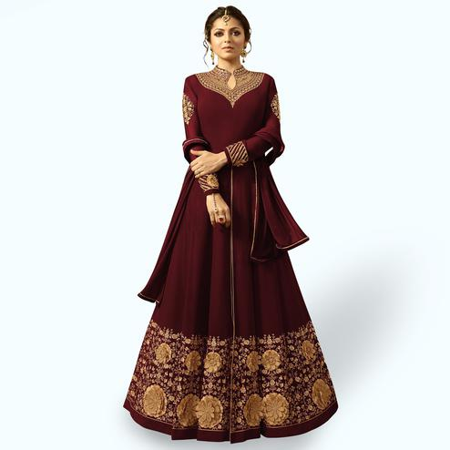 Stunning Maroon Colored Partywear Embroidered Georgette Abaya Style Anarkali Suit