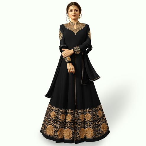 Fabulous Black Colored Partywear Embroidered Georgette Abaya Style Anarkali Suit