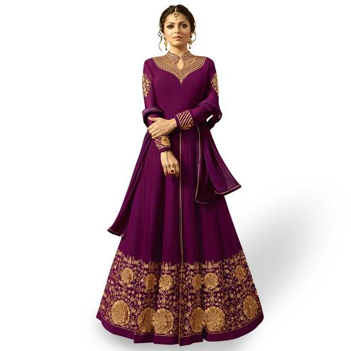 Amazing Purple Colored Partywear Embroidered Georgette Abaya Style Anarkali Suit