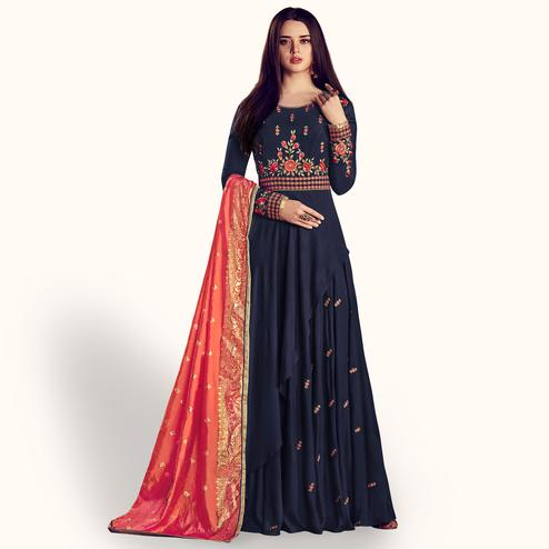 Flaunt Navy Blue Colored Party Wear Embroidered Rayon Anarkali Suit