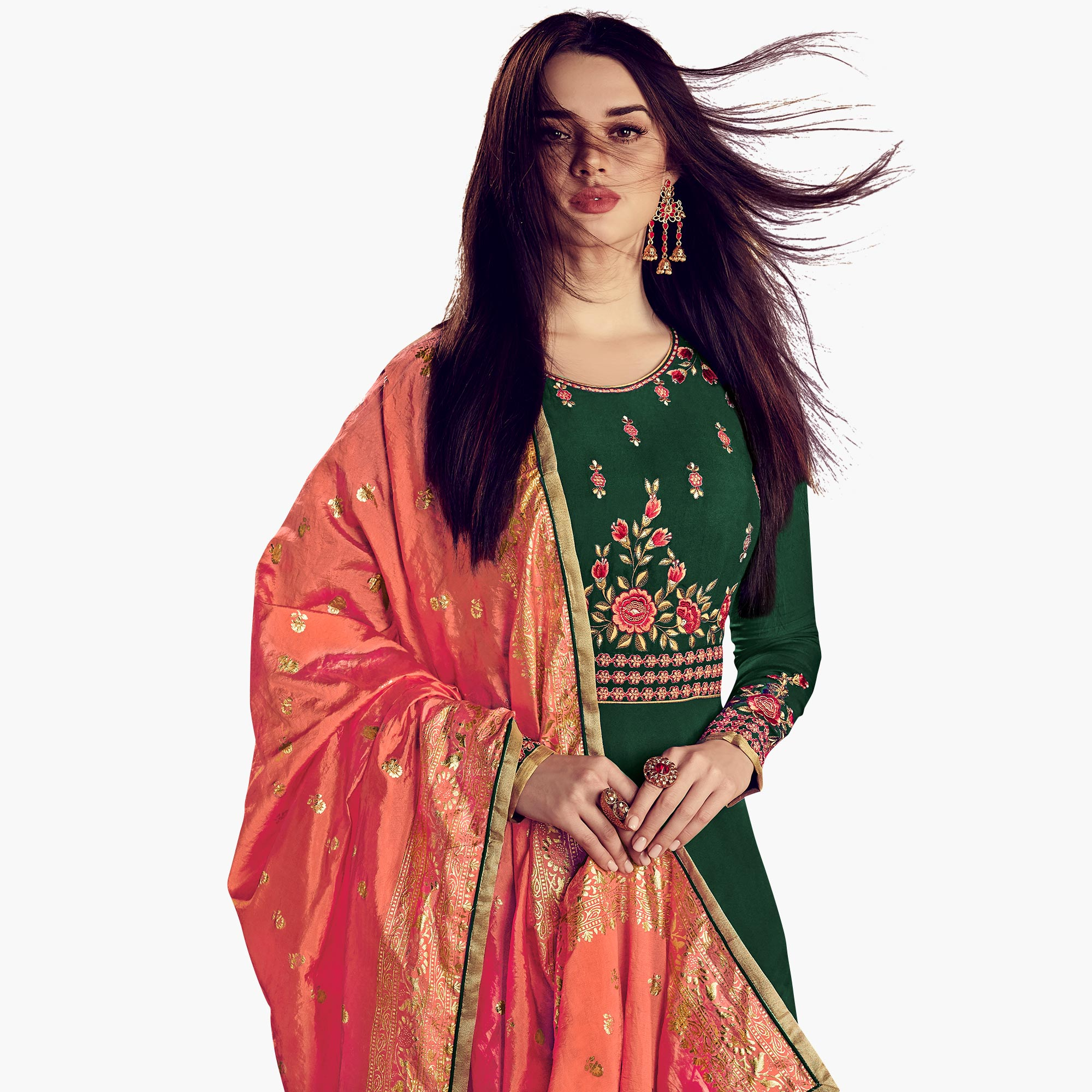 Dazzling Green Colored Party Wear Embroidered Rayon Anarkali Suit