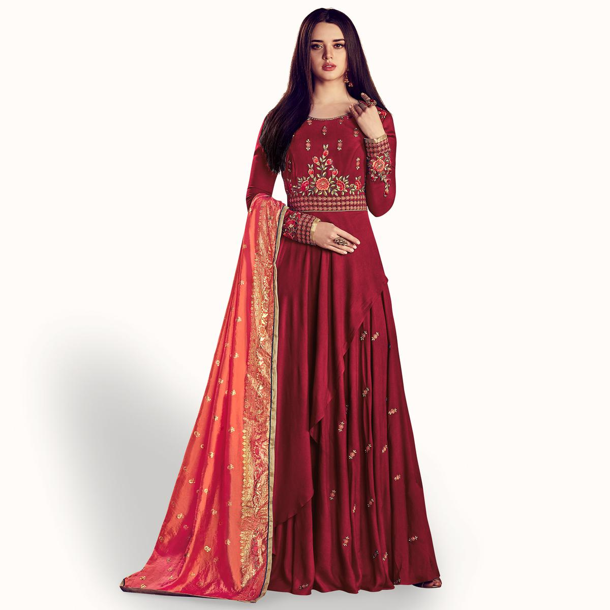 Flirty Maroon Colored Party Wear Embroidered Rayon Anarkali Suit