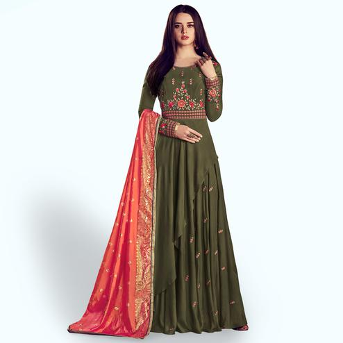 Prominent Dark Olive Green Colored Party Wear Embroidered Rayon Anarkali Suit