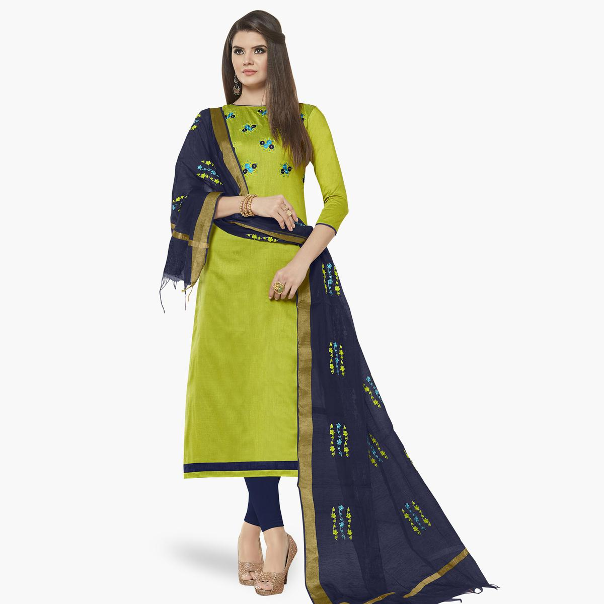 Opulent Green Colored Casual Wear Embroidered Cotton Dress Material