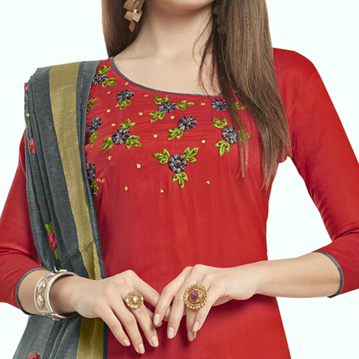 Energetic Red Colored Casual Wear Embroidered Cotton Dress Material