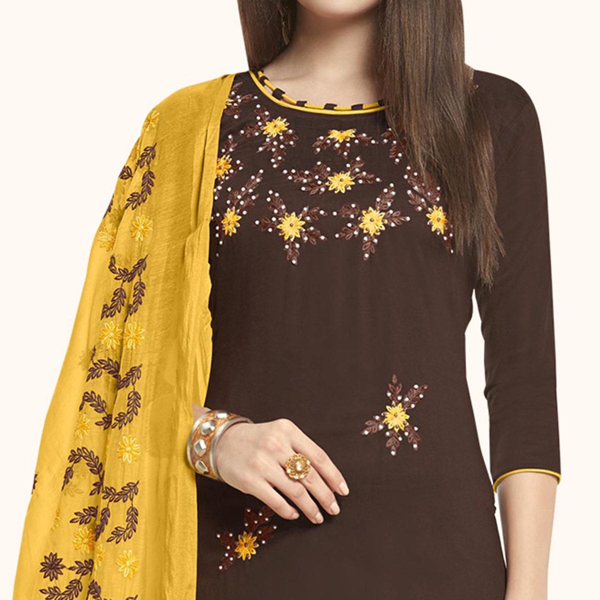 Glowing Brown Colored Casual Wear Embroidered Cotton Dress Material