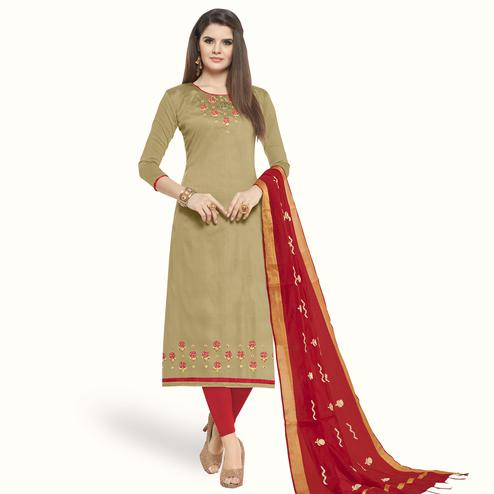 Mesmeric Chiku Colored Casual Wear Embroidered Cotton Dress Material