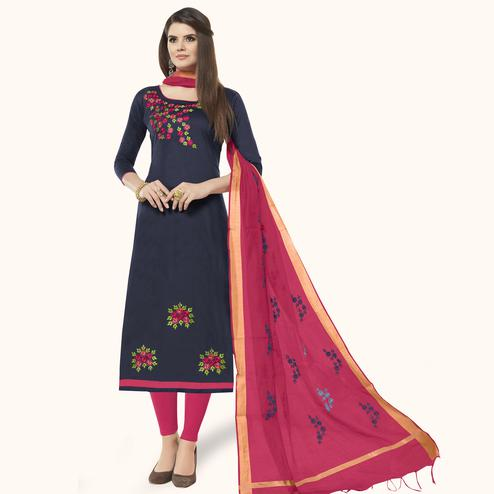Unique Navy Blue Colored Casual Wear Embroidered Cotton Dress Material