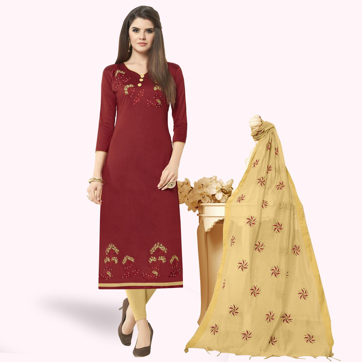 Demanding Maroon Colored Casual Wear Embroidered Cotton Dress Material
