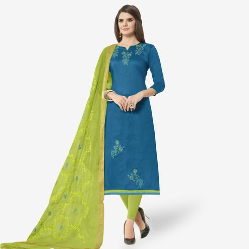 Refreshing Sky Blue Colored Casual Wear Embroidered Cotton Dress Material