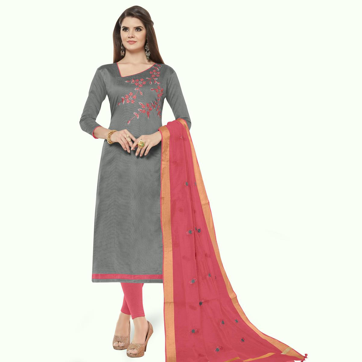 Magnetic Grey Colored Casual Wear Embroidered Cotton Dress Material