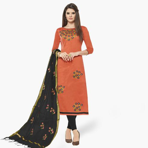 Hypnotic Peach Colored Casual Wear Embroidered Cotton Dress Material