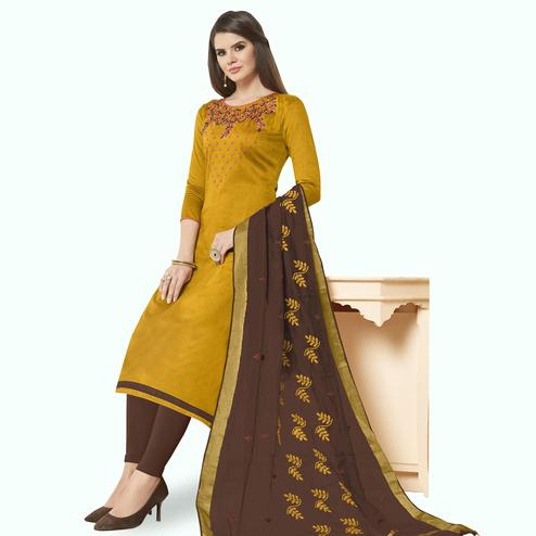 Elegant Dark Mustard Yellow Colored Casual Wear Embroidered Cotton Dress Material