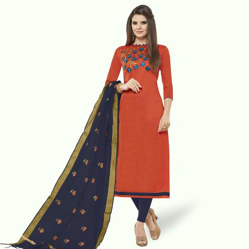 Excellent Rust Orange Colored Casual Wear Embroidered Cotton Dress Material