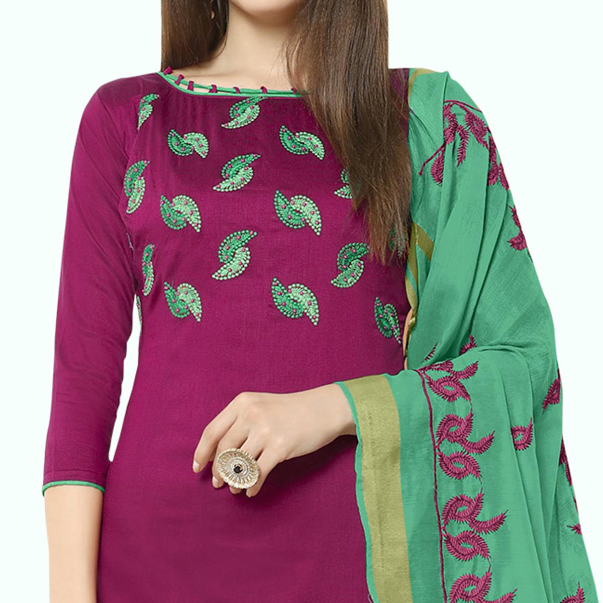 Breathtaking Purple Colored Casual Wear Embroidered Cotton Dress Material