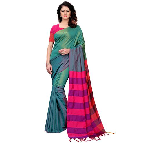 Classy Green Colored Festive Wear Tussar Silk Saree With Tassels