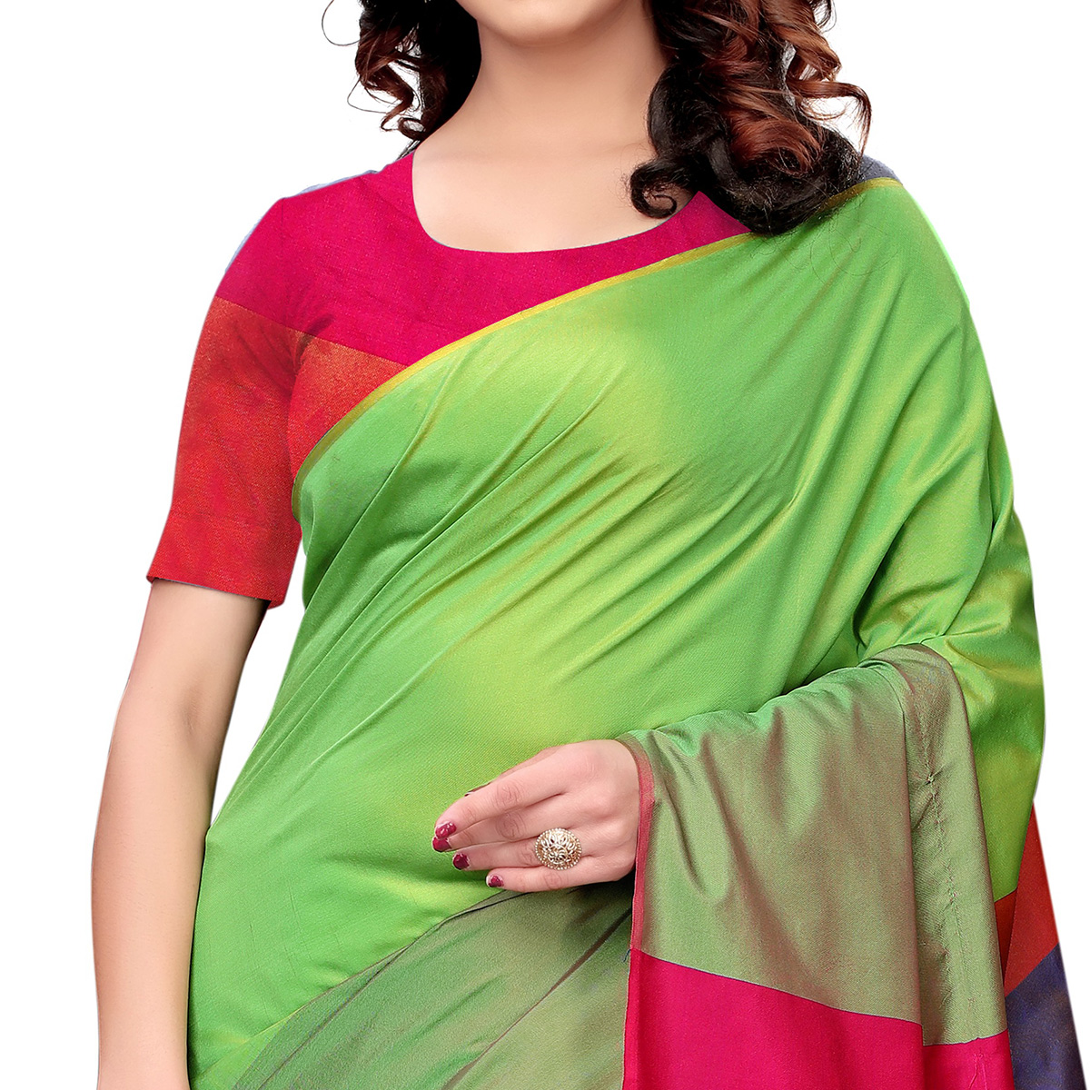 Radiant Green Colored Festive Wear Tussar Silk Saree With Tassels