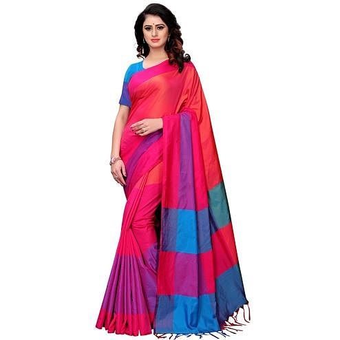 Energetic Pink Colored Festive Wear Tussar Silk Saree With Tassels