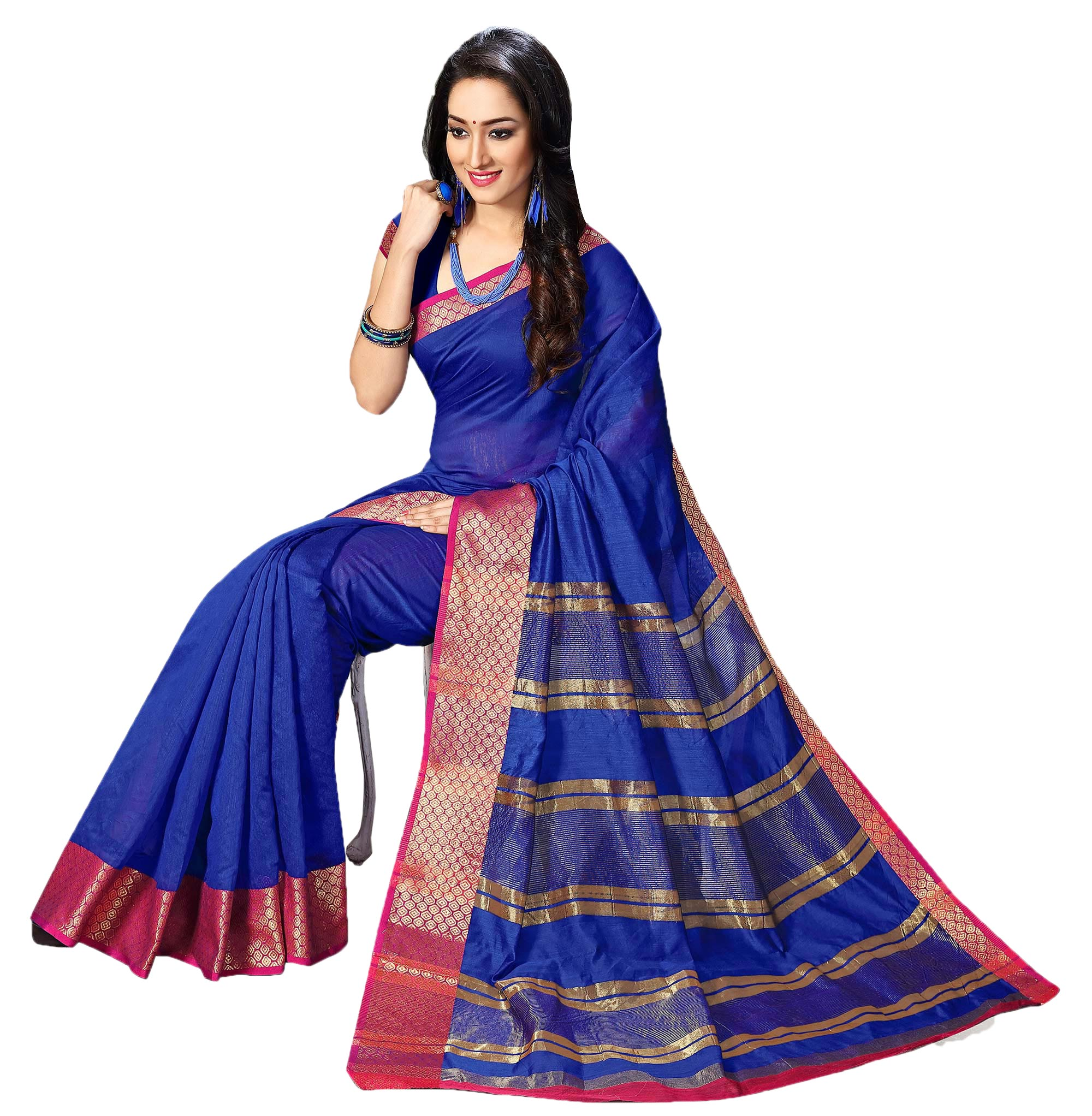 Royal Blue Weaving Work Cotton Saree